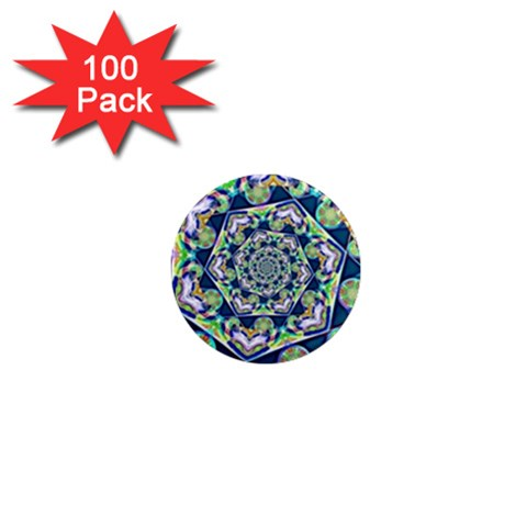 Power Spiral Polygon Blue Green White 1  Mini Magnets (100 pack)