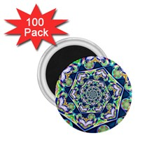 Power Spiral Polygon Blue Green White 1 75  Magnets (100 Pack)