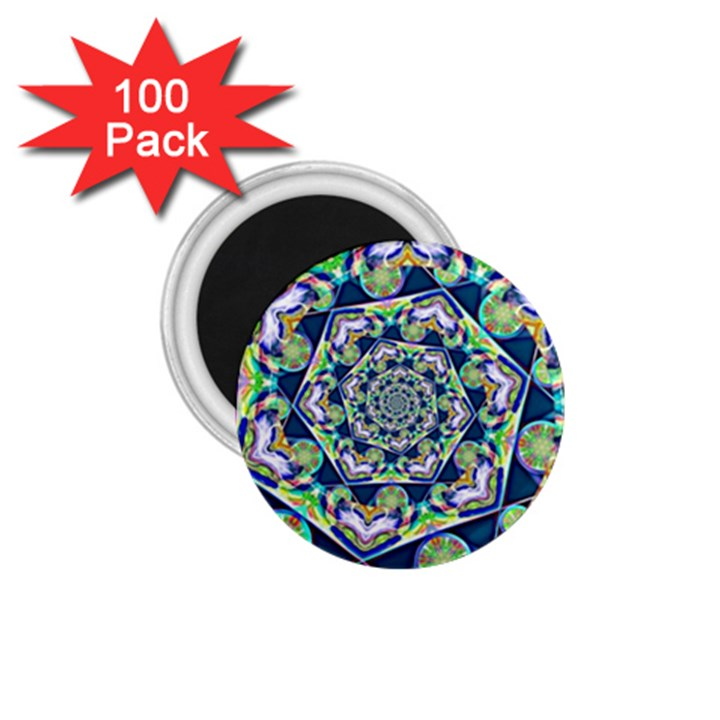 Power Spiral Polygon Blue Green White 1.75  Magnets (100 pack)