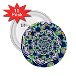 Power Spiral Polygon Blue Green White 2.25  Buttons (10 pack)  Front
