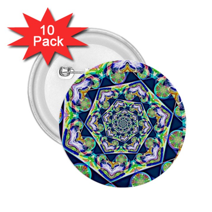 Power Spiral Polygon Blue Green White 2.25  Buttons (10 pack)