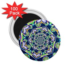 Power Spiral Polygon Blue Green White 2 25  Magnets (100 Pack)