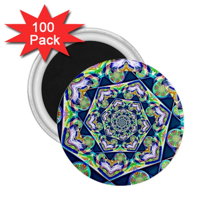 Power Spiral Polygon Blue Green White 2.25  Magnets (100 pack)