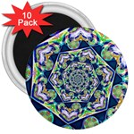 Power Spiral Polygon Blue Green White 3  Magnets (10 pack)  Front