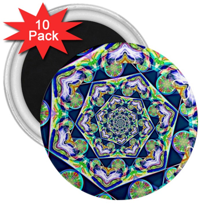 Power Spiral Polygon Blue Green White 3  Magnets (10 pack)