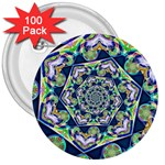 Power Spiral Polygon Blue Green White 3  Buttons (100 pack)  Front