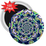 Power Spiral Polygon Blue Green White 3  Magnets (100 pack) Front