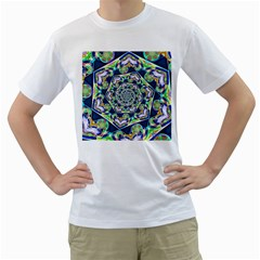 Power Spiral Polygon Blue Green White Men s T Shirt (white) (two Sided)