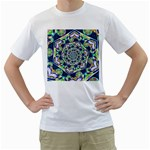 Power Spiral Polygon Blue Green White Men s T-Shirt (White) (Two Sided) Front