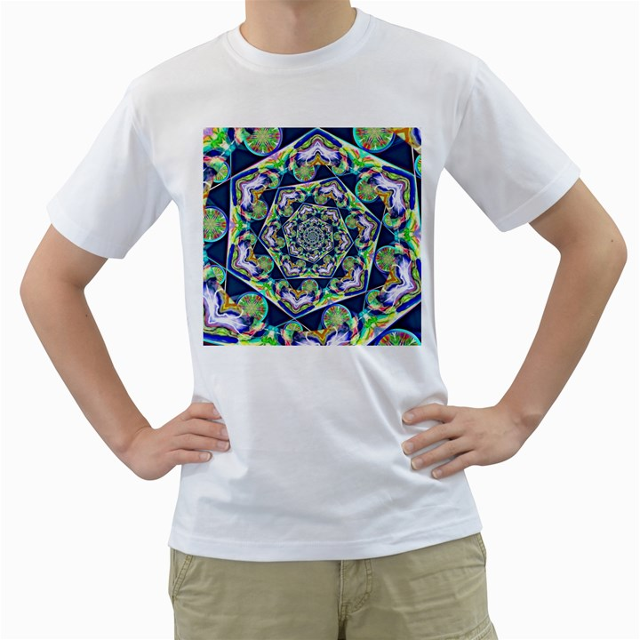 Power Spiral Polygon Blue Green White Men s T-Shirt (White) (Two Sided)
