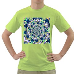 Power Spiral Polygon Blue Green White Green T Shirt
