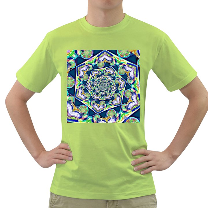 Power Spiral Polygon Blue Green White Green T-Shirt