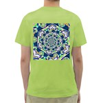 Power Spiral Polygon Blue Green White Green T-Shirt Back