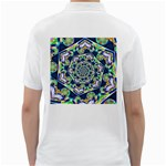 Power Spiral Polygon Blue Green White Golf Shirts Back