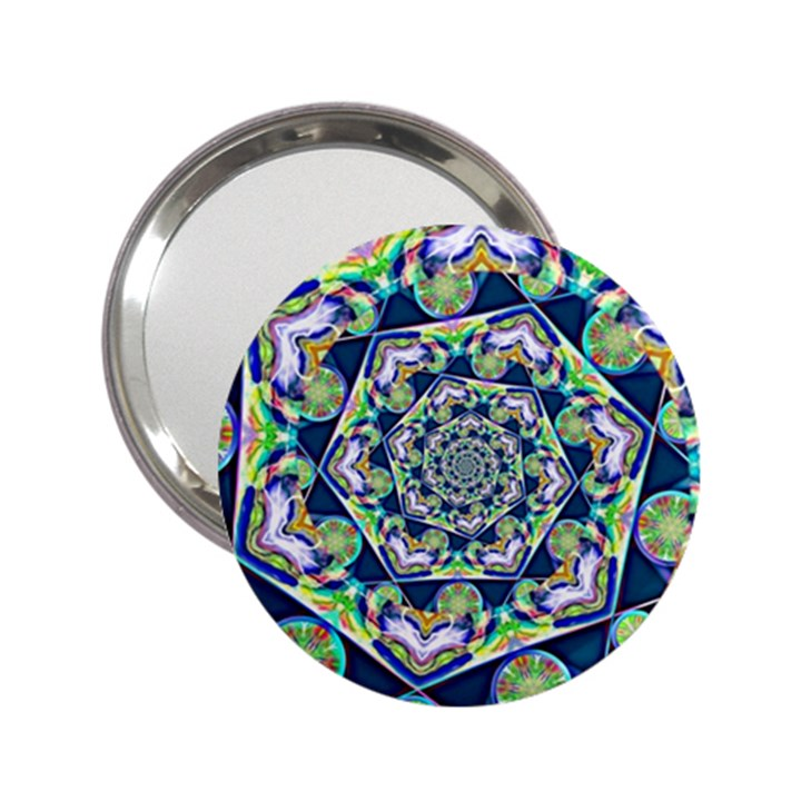 Power Spiral Polygon Blue Green White 2.25  Handbag Mirrors