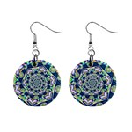 Power Spiral Polygon Blue Green White Mini Button Earrings Front
