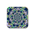 Power Spiral Polygon Blue Green White Rubber Coaster (Square)  Front