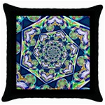 Power Spiral Polygon Blue Green White Throw Pillow Case (Black) Front