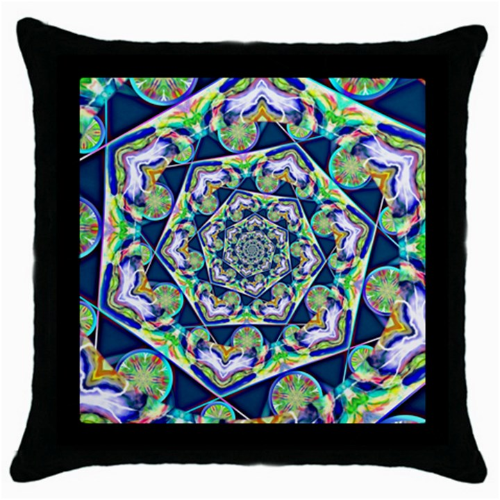Power Spiral Polygon Blue Green White Throw Pillow Case (Black)