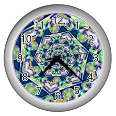 Power Spiral Polygon Blue Green White Wall Clocks (Silver)