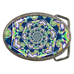 Power Spiral Polygon Blue Green White Belt Buckles