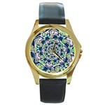 Power Spiral Polygon Blue Green White Round Gold Metal Watch Front