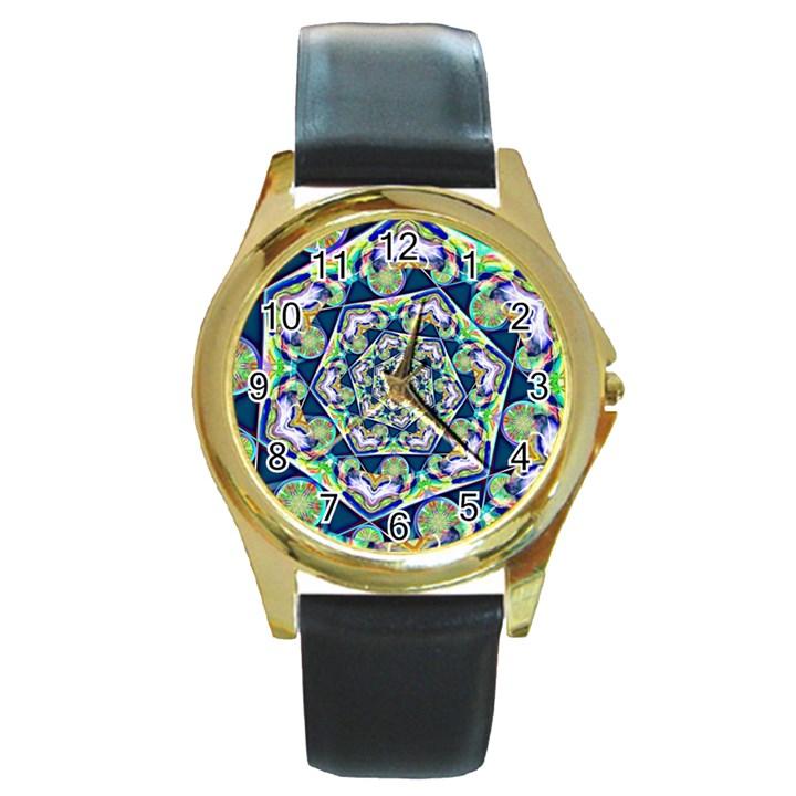 Power Spiral Polygon Blue Green White Round Gold Metal Watch