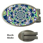 Power Spiral Polygon Blue Green White Money Clips (Oval)  Front
