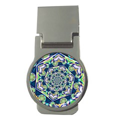 Power Spiral Polygon Blue Green White Money Clips (Round)