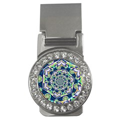 Power Spiral Polygon Blue Green White Money Clips (CZ)