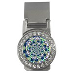 Power Spiral Polygon Blue Green White Money Clips (CZ)  Front
