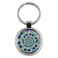 Power Spiral Polygon Blue Green White Key Chains (Round)