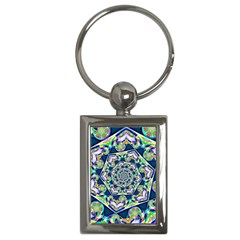 Power Spiral Polygon Blue Green White Key Chains (rectangle)
