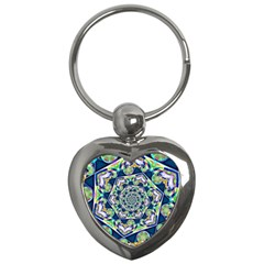 Power Spiral Polygon Blue Green White Key Chains (heart)