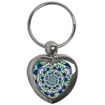 Power Spiral Polygon Blue Green White Key Chains (Heart)  Front