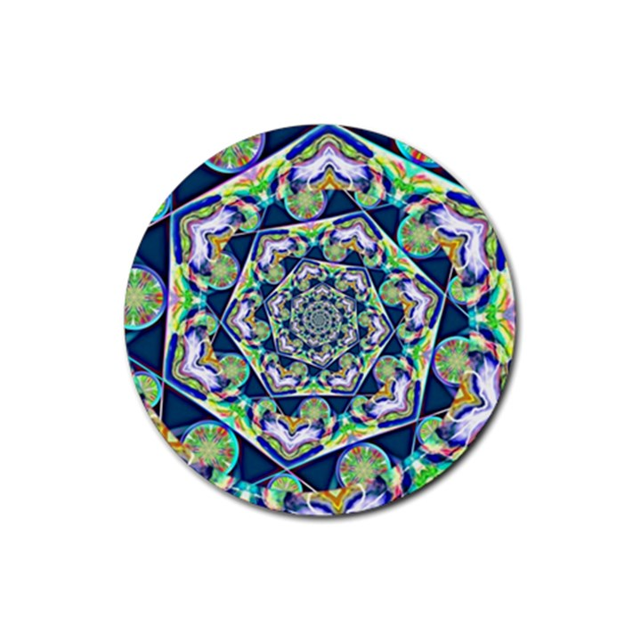 Power Spiral Polygon Blue Green White Rubber Coaster (Round)