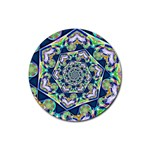 Power Spiral Polygon Blue Green White Rubber Round Coaster (4 pack)  Front