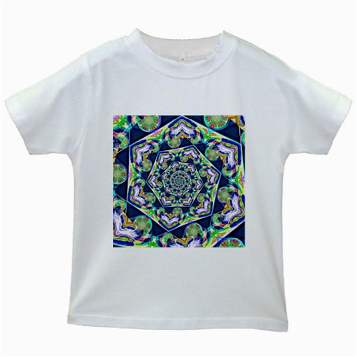 Power Spiral Polygon Blue Green White Kids White T-Shirts