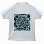 Power Spiral Polygon Blue Green White Kids White T-Shirts Back