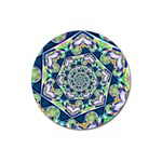 Power Spiral Polygon Blue Green White Magnet 3  (Round) Front