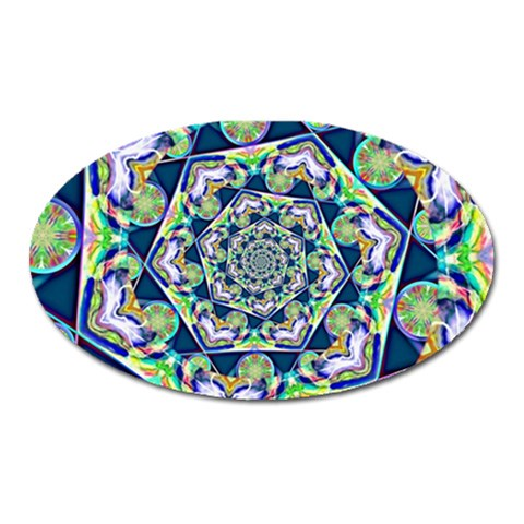 Power Spiral Polygon Blue Green White Oval Magnet