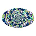 Power Spiral Polygon Blue Green White Oval Magnet Front