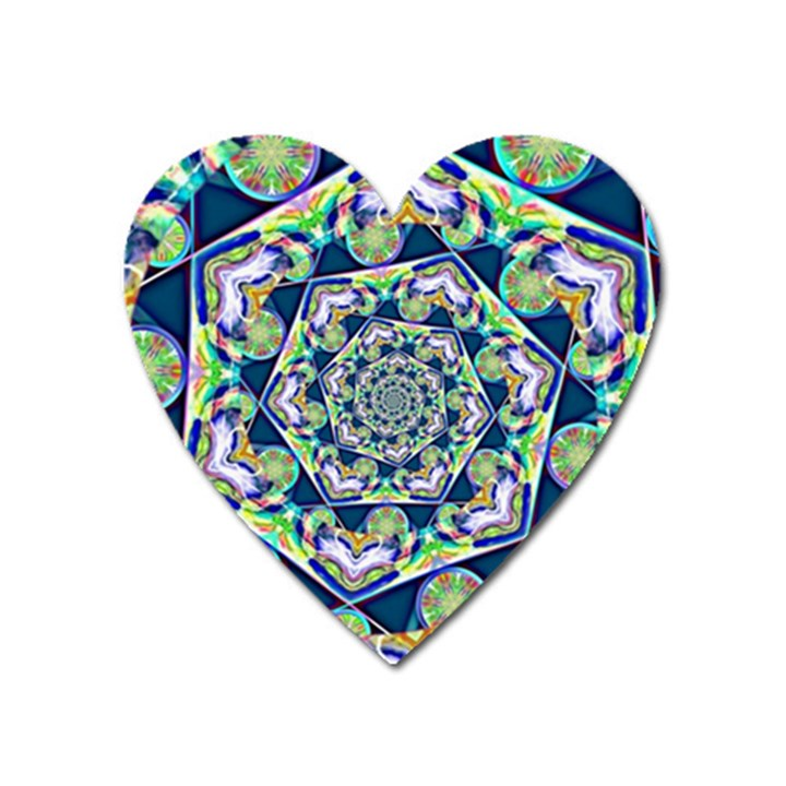 Power Spiral Polygon Blue Green White Heart Magnet