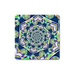 Power Spiral Polygon Blue Green White Square Magnet Front