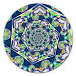 Power Spiral Polygon Blue Green White Magnet 5  (Round) Front