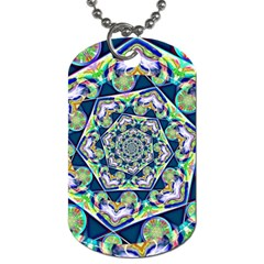Power Spiral Polygon Blue Green White Dog Tag (two Sides)