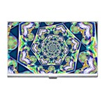 Power Spiral Polygon Blue Green White Business Card Holders Front
