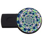 Power Spiral Polygon Blue Green White USB Flash Drive Round (1 GB)  Front