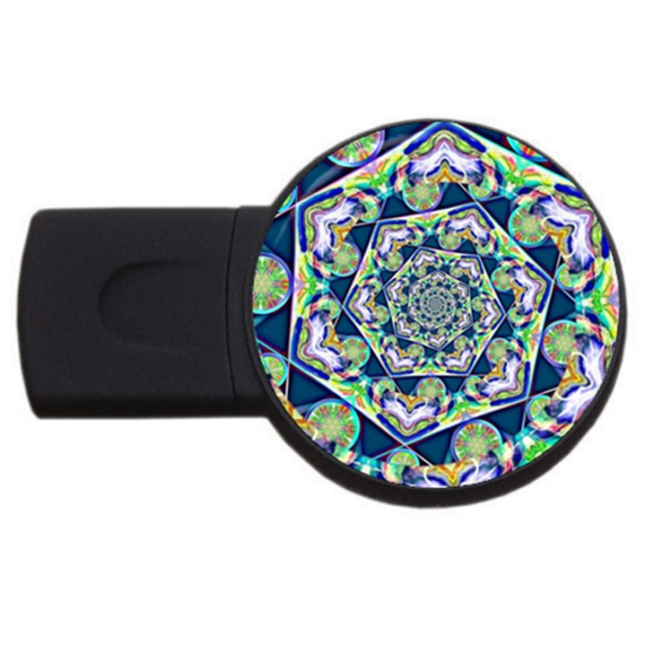 Power Spiral Polygon Blue Green White USB Flash Drive Round (1 GB)