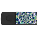 Power Spiral Polygon Blue Green White USB Flash Drive Rectangular (1 GB)  Front